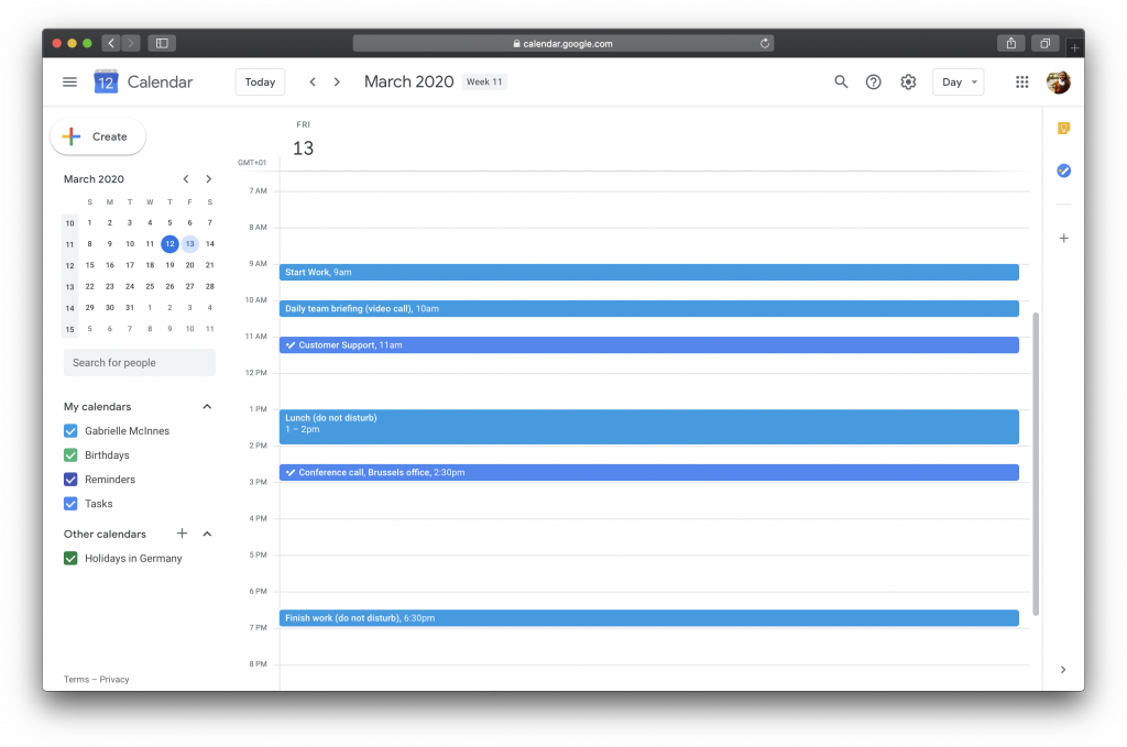 Example calendar for a day of remote work