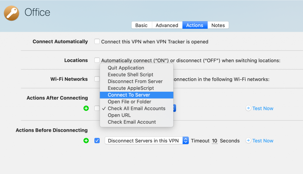 Configuring connection actions in VPN Tracker 365 to increase productivity