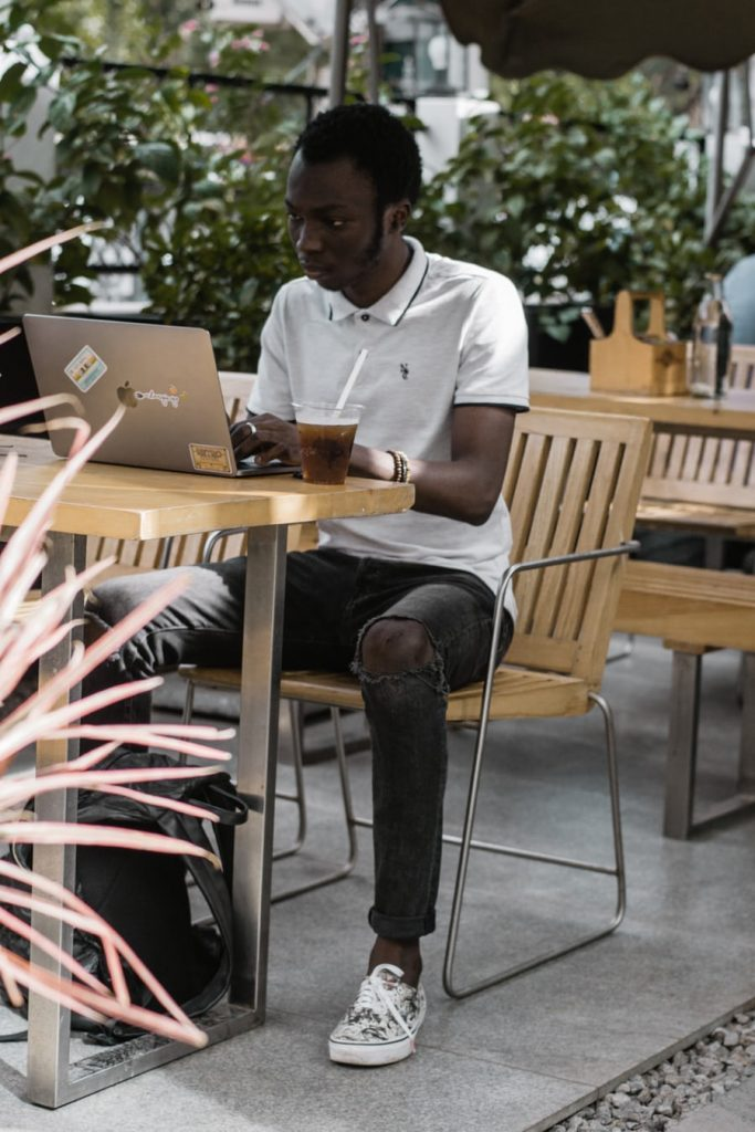 Remote working from a coffee shop.