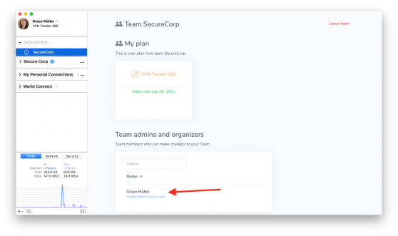 New team member overview page in VPN Tracker 365