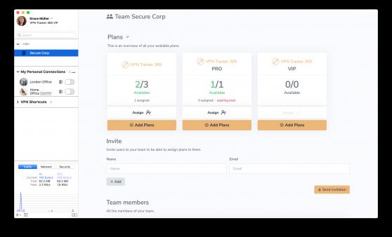 team admins view in vpn tracker 365
