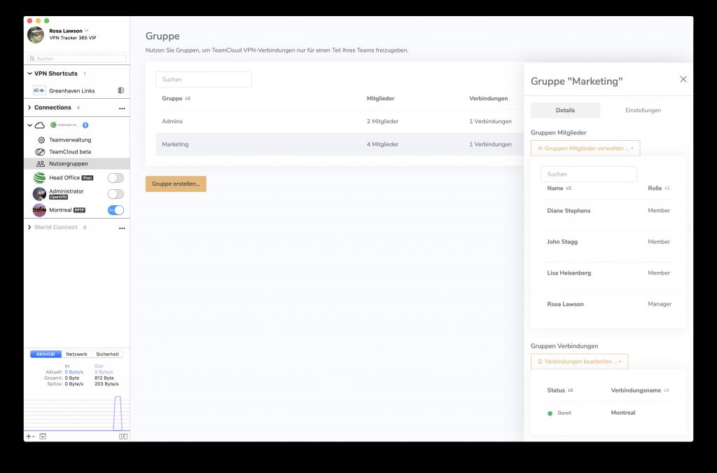 TeamCloud Gruppen erstellen und verwalten
