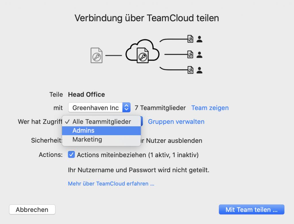 Eine VPN-Verbindung über die TeamCloud mit einer Gruppe teilen
