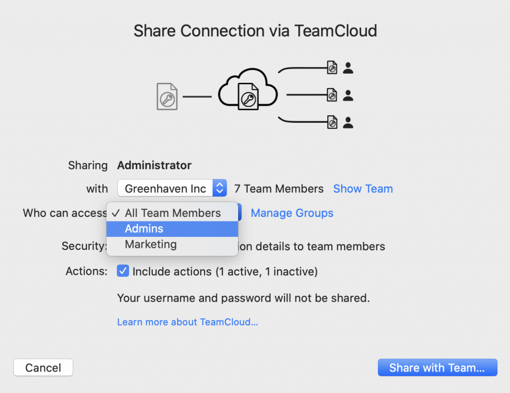 Sharing a VPN connection with a user group in TeamCloud