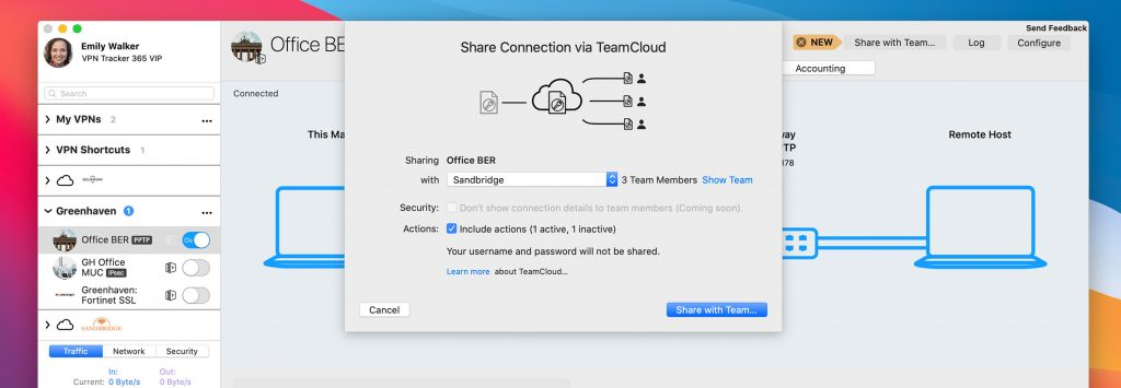 Sharing a VPN connection via TeamCloud in VPN Tracker 365