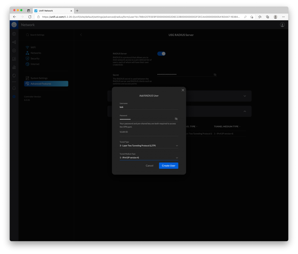 setting up a new vpn user in the UniFi controller interface