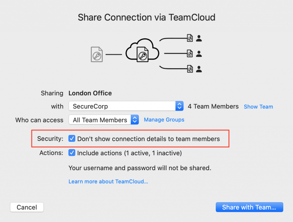 hide vpn connection details from team members in vpn tracker 365